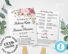 Green And Cream Ceremony Program - Floral wedding program templates