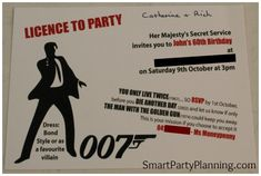 Stuck for awesome themed birthday party ideas? The James Bond Theme Party is fun but also helps party ideas flow. A 007 theme party is one with style! James Bond Party, James Bond Wedding, James Bond Theme, James Bond Games, Casino Party Games, Casino Night Party, Casino Theme Parties, Birthday Party Themes, 50 Birthday