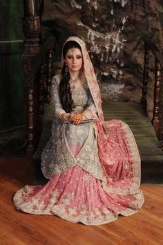 Pakistani bride in a grey and pink lehnga. Pakistani Wedding Outfits, Indian Bridal Wear, Asian Bridal, Pakistani Wedding Dresses, Bridal Outfits, Indian Dresses, Indian Outfits, Gown Party Wear, Bollywood