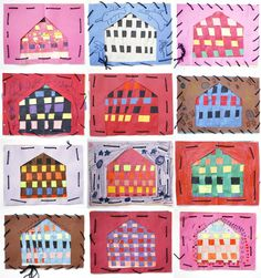 Woven houses elementary art education weaving lesson project 2nd grade 1st grade