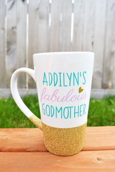 Need a great personalized gift for the special Godmother in your childs life? Look no further! Customize this mug any way you would like! These large 16oz ceramic latte mugs are hand dipped in gorgeous glitter. Who doesnt love a little sparkle?! You may then customize the colors