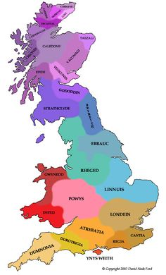Map Britain 425AD © Nash Ford Publishing This was around the time that Vortigern is said to have emerged from the Gloucester area as the chief political power in the country [Pink}. The Saxons and Irish were already settling in coastal areas. Little is known of the Northern Pictish regions [Purple], but presumably the tribal divisions of previous ages survived into the 5th century.