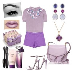 A fashion look from June 2017 featuring purple shirt, short shorts and leather shoes. Purple Color Palettes, Purple Palette, Effy Jewelry, Sonia Rykiel, Miu Miu, Marc Jacobs, Shoe Bag, Ivy, Polyvore