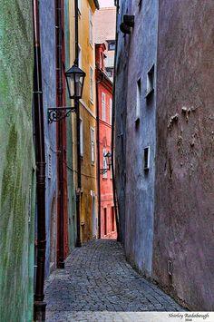 Colorful Cobblestone Alley in Cheb, CZ
