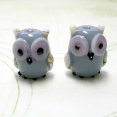 Owl Lampwork Beads  set of 2 by jewelry56 on Etsy