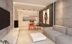 TOP 10 małych mieszkań Divider, House Design, Living Room, Interior Design, Inspiration, Flat, Furniture, Home Decor, Studio