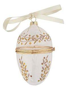 Shabby chic glass egg trinket Christmas decoration