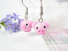 Pig Earrings cute pig earrings pig charm animal earrings