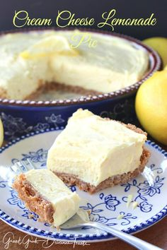 🔆CREAM CHEESE LEMONADE PIE 🔆 Yes I have a lemon fetish! And on a hot summer day, this cream cheese lemonade pie is just what is needed. This pie is cool, creamy, tart and full of lemony flavor. Lemon Curd Dessert, Lemon Dessert Recipes, Pie Dessert, Lemon Recipes, Cheesecake Recipes, Lemon Cheesecake, Pumpkin Cheesecake, Pie Recipes, Seafood Recipes