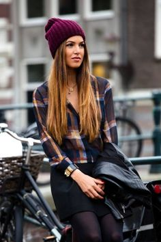 Flannel, skirt, tights and beanie