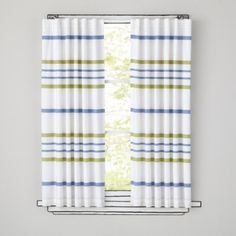 "Need this in yellow/light blue; 63"" Wide Ruled Curtain Panel (Green)  