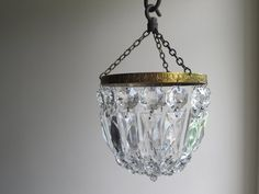 Vintage glass basket chandelier, small mid century ceiling light, French country chic home decor