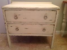 I love this simple but elegant chest, painted in Miss Mustard seed milk paint and distressed to give a real shabby effect. More to see at  www.facebook.com/BureChic.