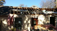 Demo all area of roof per print. Also demoed existing exterior wall on front for new elevation.  Jan 14