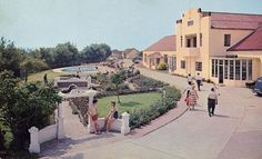 A fine publicity shot of the Reception and Swimming Pool at the Maddiesons Golden Sands Holiday Camp from Butlins, Vintage Holiday, Swimming Pools, Dolores Park, The Past, Sidewalk, Reception, Camping, Mansions