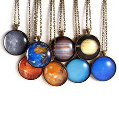 Solar System Necklace Science Astronomy Glass Tile Planet Pendants. $22.99, via Etsy.