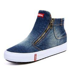 82f8aa4ebe72 Women Casual Denim Cloth Plush Lined Zipper Flat Ankle Boots Bottines  Plates
