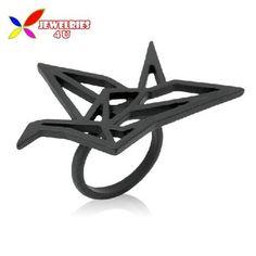 2014 new fashion stylish punk Designer gols silver black alloy cutout Origami finger rings for women bagues ensemble bijoux