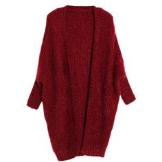 Ruby Warm Ladies Plain Chic Batwing Sleeves Cardigan Sweater ($42) ❤ liked on Polyvore featuring tops, cardigans, sweaters, jackets, ruby, batwing sleeve cardigan, red top, bat sleeve cardigan, red cardigan and batwing sleeve tops