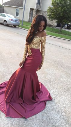 Sequined Gold & Burgundy Prom Dress