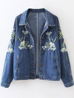 Floral Embroidered Denim Jacket ==