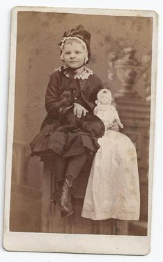 Great 1860s CDV Photo Wilmington Delaware Little Girl w/ DOLL and DOG