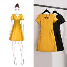 Kimmy dress Warna : black, mustard Bahan Balotely premium Fit to L Rp Un. Asian Fashion, Look Fashion, Girl Fashion, Fashion Dresses, Womens Fashion, Fashion Trends, Simple Dresses, Cute Dresses, Textiles Y Moda
