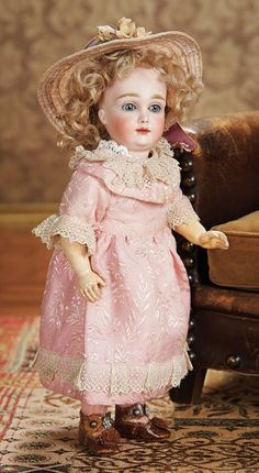 "Rare German Bisque Closed Mouth Doll Known as ""A.T. Kestner"" in Unusual Petite Size 5000/7500"