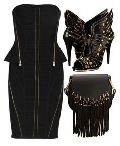 Black & Gold by carolineas on Polyvore featuring polyvore, fashion, style, Hervé Léger, Roberto Cavalli, Chloé and clothing