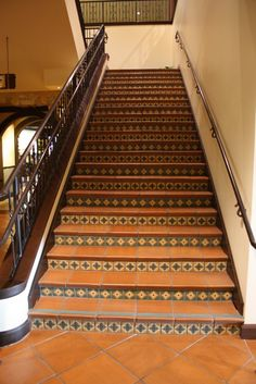 tiled stairs | This stair shows a different tile per step. This a common pattern ...