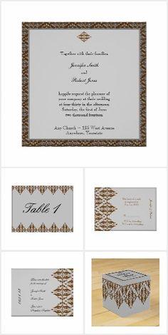 Chocolate and Silver Damask Wedding Damask Wedding, Elegant Wedding, Invitation Set, Initials, Reception, Place Card Holders, Chocolate, Pattern, Silver