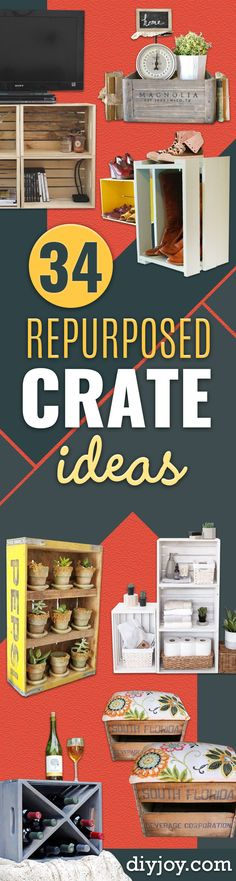 Things to Make With Crates - DIY Furniture Ideas - Cheap Home Decor Projects Inexpensive Home Decor, Cheap Home Decor, Diy Home Decor, Diy Furniture Cheap, Diy Furniture Projects, Home Decor Signs, Retro Home Decor, Lund, Romantic Home Decor
