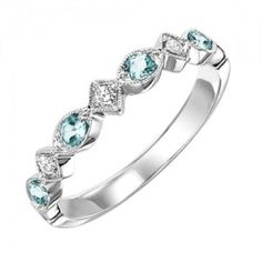 10k white gold diamond and aquamarine birthstone ring