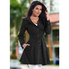 Venus Polka Dot Rain Coat ($54) ❤ liked on Polyvore featuring outerwear, coats, lined raincoat, mac coat, lined rain coat, polka dot raincoat and polka dot rain coat