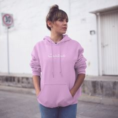 High-quality pink hoodie with print of Urdu text. In the Indian language Urdu, the print on the hoodie means love. The North Face, Size Chart, Indian, Hoodies, Fitness, Pink, Jackets, Collection, Women