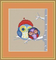 Cute owls Cross stitch pattern PDF by PatternsByAlyona on Etsy