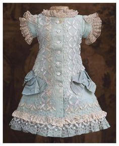 "Antique Original Aqua Woolen Dress for Jumeau Bru Steiner Eden Bebe doll about 17-18"" (43-46 cm)"