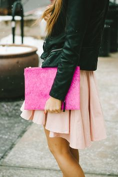 Leather & shades of pink.