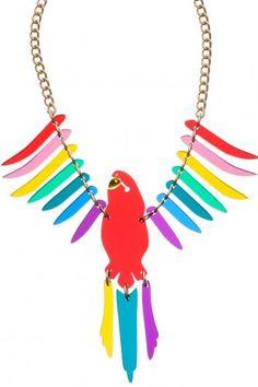 Parakeet Large Necklace - Red Multi