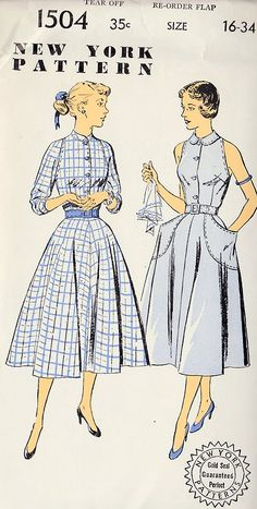 1950s 3/4-sleeve dress has standing collar. Sleeveless dress has round collar.