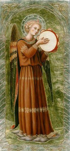'Angel Performing Music - Artist Malvina Wojcik. / Anioł muzykujący - from http://www.touchofart.eu/Malwina-Wojcik/mw55-Aniol-muzykujacy/