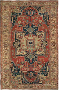 SERAPI, Northwest Persian 9ft 6in x 15ft 0in 3rd Quarter, 19th Century. Antique Serapi carpets such as this striking example are beloved for their ability to integrate into a range of decor styles, pairing well with everything from contemporary to traditional.
