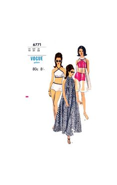 Halter Neck Bikini and Coverup or Tent Dress in Two Lengths, Bust Hip Vogue 6771 Vintage Sewing Pattern Reproduction, Tent Dress, Bikini Cover Up, Sewing Material, 1960s Fashion, Halter Neck, Vintage Sewing Patterns, Vogue, Bikinis, Turtle