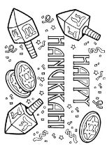 happy hanukkah coloring page - Hanukkah Coloring Pages