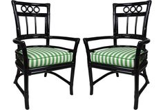 Ficks Reed Black Colony Armchairs, Pair