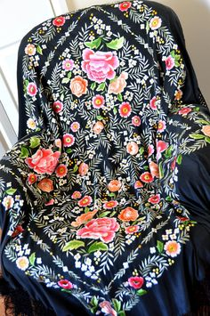 Hand embroidered spanish silk flamenco piano shawl, manton de manilla