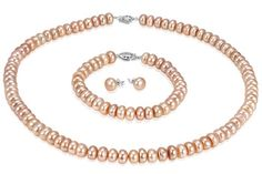 $13.99 - 8mm Freshwater Peach Pearl Set With Silver Filigree Clasp