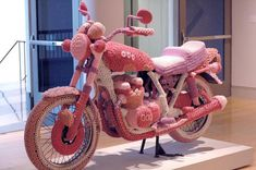 pink, bike and crochet image on We Heart It Yarn Bombing, Knit Art, Crochet Art, Crochet Toys, Pink Motorcycle, Motorcycle Cover, Bike Cover, Guerilla Knitting, Pink Bike