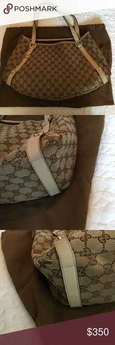 Gucci tote 100% authentic Gucci tote with off-white leather straps, preowned good condition the corner edges in the bottom have slight wear and the inside has some spots that need to be cleaned. 100% authentic purchased from South Coast Plaza Gucci store Gucci Bags