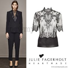 Heartmade - Julie Fagerholt lace shirt with high neck and short sleeves